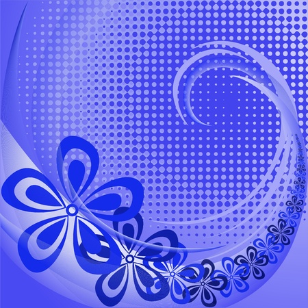 Abstract blue floral background with swirl and waves Stock Vector - 11283220
