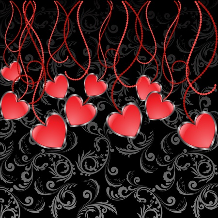 set of glossy red hearts hanging on sinuous thread Vector