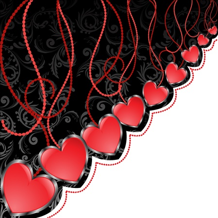 celebratory: glossy red hearts hanging diagonal on black and white background