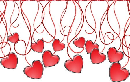 Seamless garland of glossy hearts on sinuous thread Vector