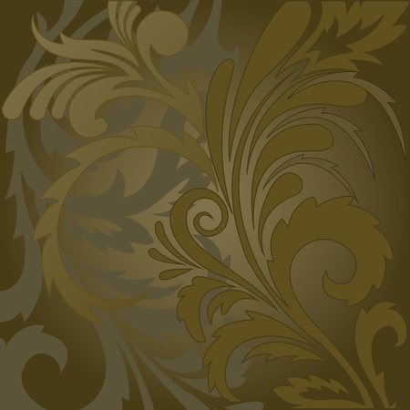 abstract brown background with floral ornaments Vector