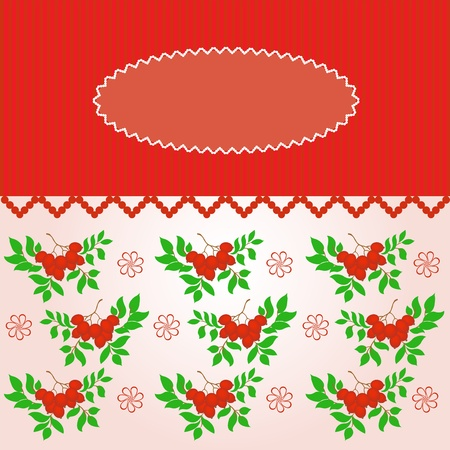 rowanberry: pink oval frame on a striped background with branches rowanberry