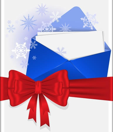 blue envelope with snowflakes tied with red ribbon with  bow Vector