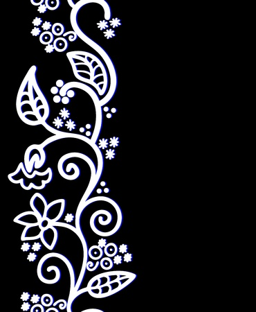 asymmetric: seamless black background with white floral ornament on the left