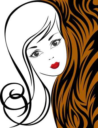 sketch of a beautiful girl on abstract black and brown background Stock Vector - 11479073