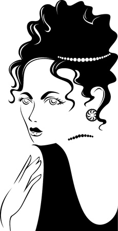 black and white portrait of a beautiful woman in jewelry Vector