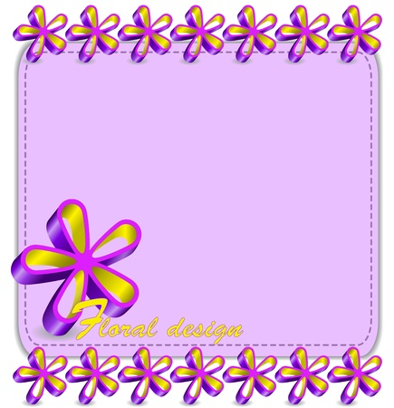 pink card for your text with relief flowers Vector