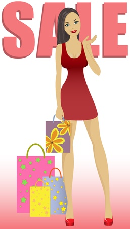 beautiful girl in short dress with shopping bags on sale Vector