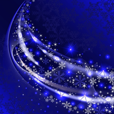 dark blue background with a tail sparkling snowflakes