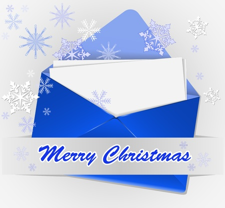 blue envelope with snowflakes and congratulations on a gray background Stock Vector - 11809945