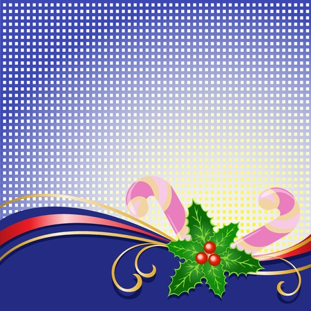 liquorice: blue checkered background with Christmas holly and licorice sticks