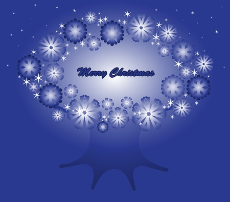 tree with a crown of snowflake on a blue background Christmas Stock Vector - 11809941