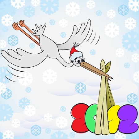 cartoon stork in red cap brought a package with New Year Vector