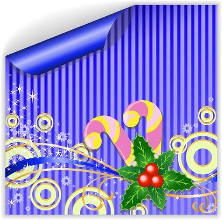 licorice sticks: Blue Christmas sticker with holly and licorice sticks