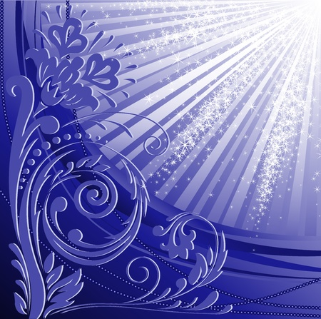 beautiful floral pattern on a blue glittering background Stock Vector - 11809944