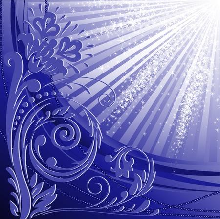 beautifu: beautiful floral pattern on a blue glittering background Illustration