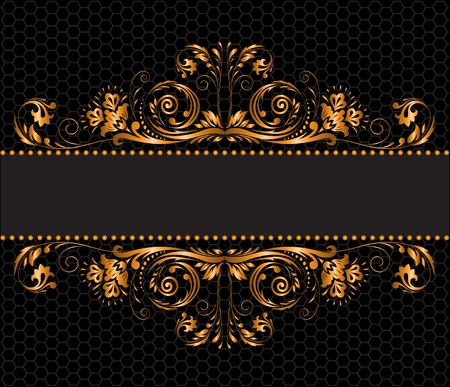 intricate: vintage gilded ornament on a black background