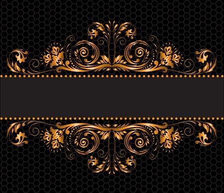 brocade: vintage gilded ornament on a black background