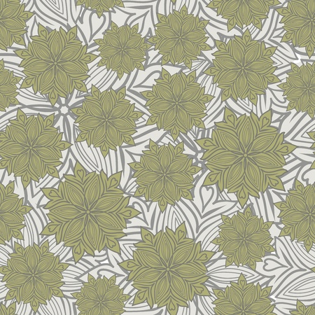 mustard: gray seamless background of stylized flowers