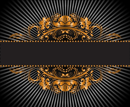 vintage gilded ornament on a black radiant background Vector