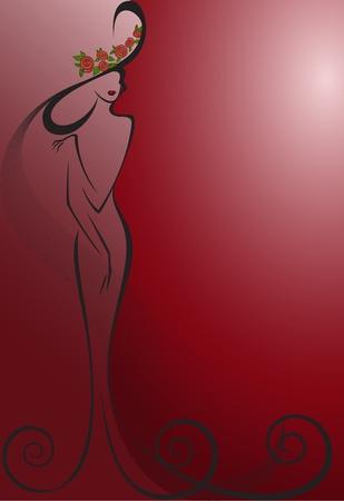 Силуэт стройной женщины в длинном платье и шляпе на красном фоне Фото со стока - 11913129