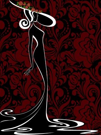 femme dressing: silhouette d'une femme mince dans une robe longue et chapeau sur un fond noir-rouge