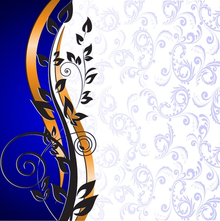 beautiful floral pattern and gold ribbon on a blue background Vector