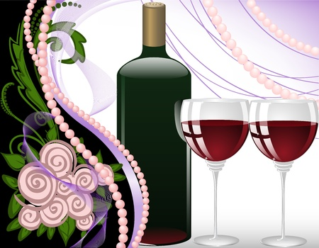 wine glasses on a black background with pearls and a bouquet of roses Stock Vector - 12018701