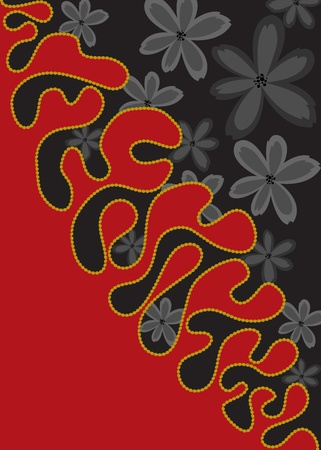 Vertical black and red background with black flowers Vector
