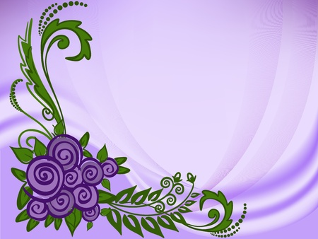 purple abstract background with roses and transparent folds Vector