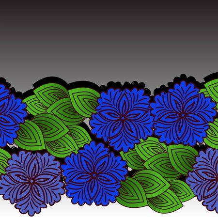 vivid colors: beautiful horizontal pattern of blue flowers on a black and white background Illustration
