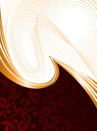 luminous: abstract red background with ornament and orange waves