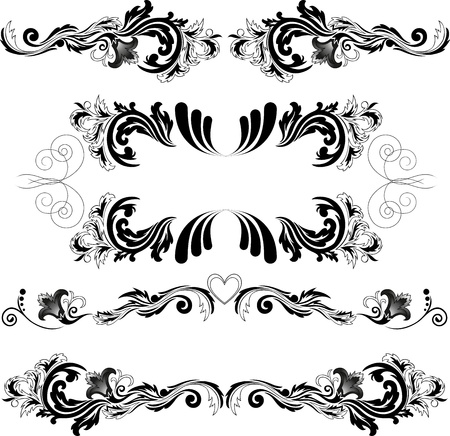 accent abstract: set of four black abstract patterns on a white background