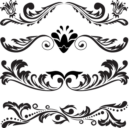 fancy border: set of four black abstract patterns on a white background