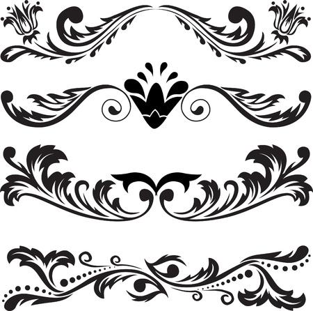 accents: un conjunto de cuatro patrones abstractos en blanco sobre un fondo blanco Vectores