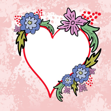 abstract background spattered with hand-drawn heart and bunches of flowers