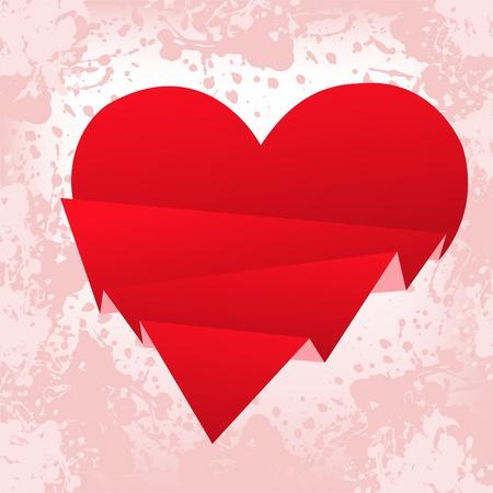 spattered: salpicado de fondo de color rosa con un coraz�n de papel rojo roto Vectores
