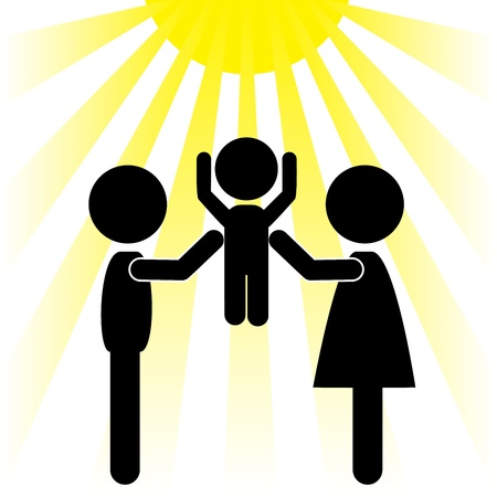 silhouettes of couples, lifting the baby to the sun Vector