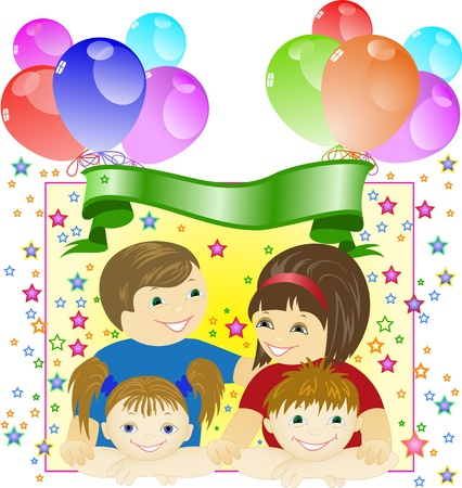 happy family on a background of festive decorations from balloons and stars Stock Vector - 12018692