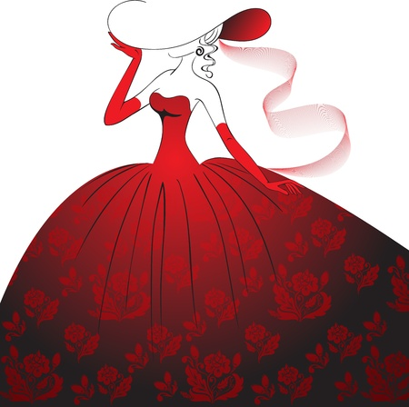 costume ball: Lady in hat, gloves and a long dress with floral pattern