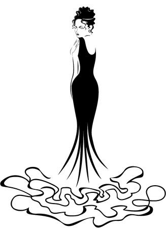 beautiful elegant woman in a long black dress Stock Vector - 12105716