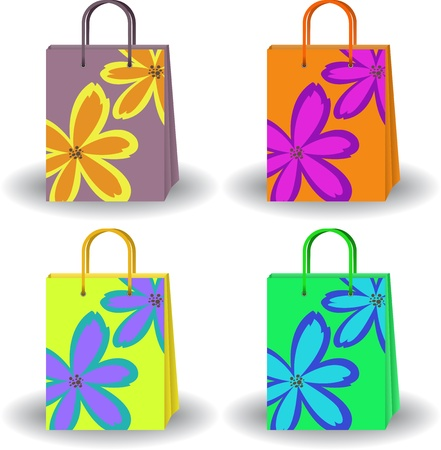 set of four colorful bags with painted flowers Vector