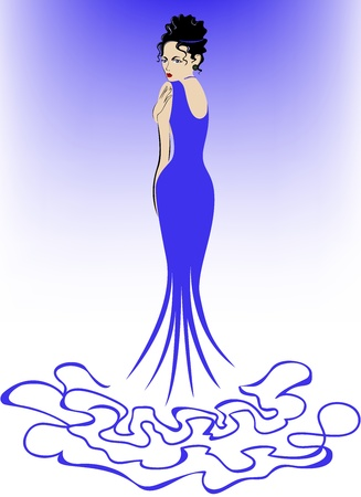 beautiful elegant woman in a long blue dress Vector