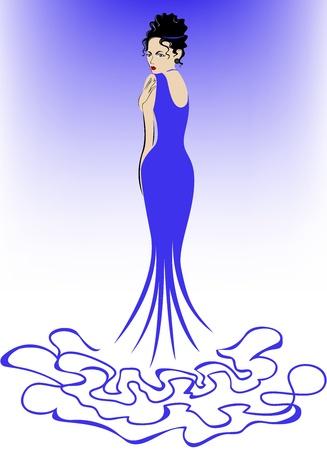 beautiful elegant woman in a long blue dress Vector