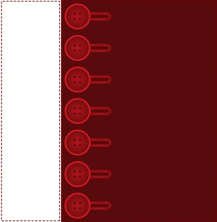 white and red stitched background with lots of buttons Vector