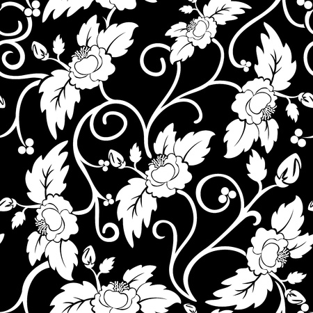 black seamless background with curly white flowers Vector