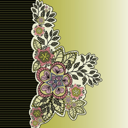 sheeted: mustard asymmetric background with a beautiful bouquet of hand-drawn