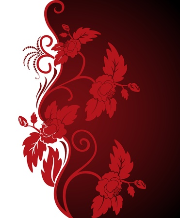 contrasty: white and red asymmetric background with beautiful curly flowers