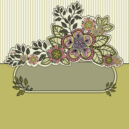 mustard striped background with a beautiful bouquet and an oval frame Vector