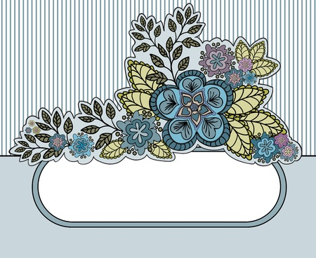 gray striped background with a beautiful bouquet and an oval frame Vector
